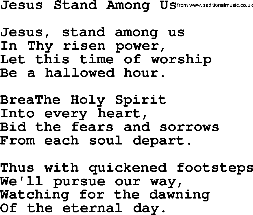 Wedding Hymns and songs: Jesus Stand Among Us.txt - lyrics, chords ...