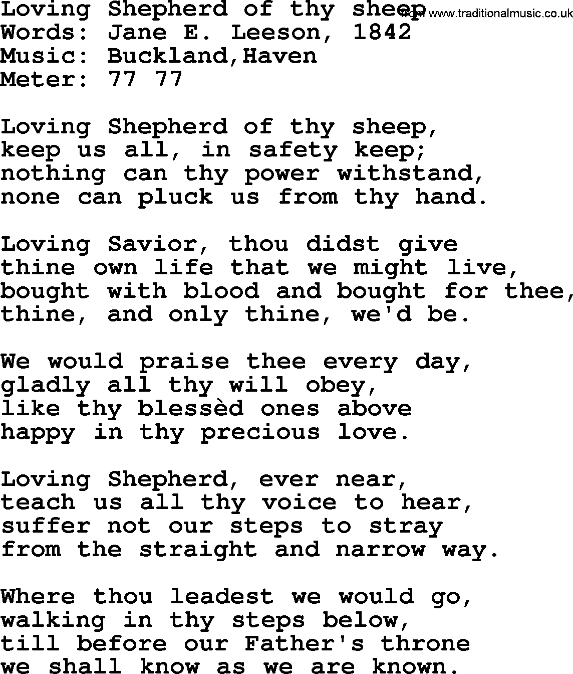 Wedding Hymns And Songs Loving Shepherd Of Thy Sheeptxt