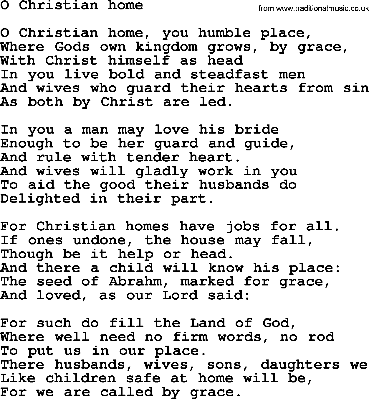 Wedding Hymns And Songs O Christian Home Txt Lyrics Chords And Pdf