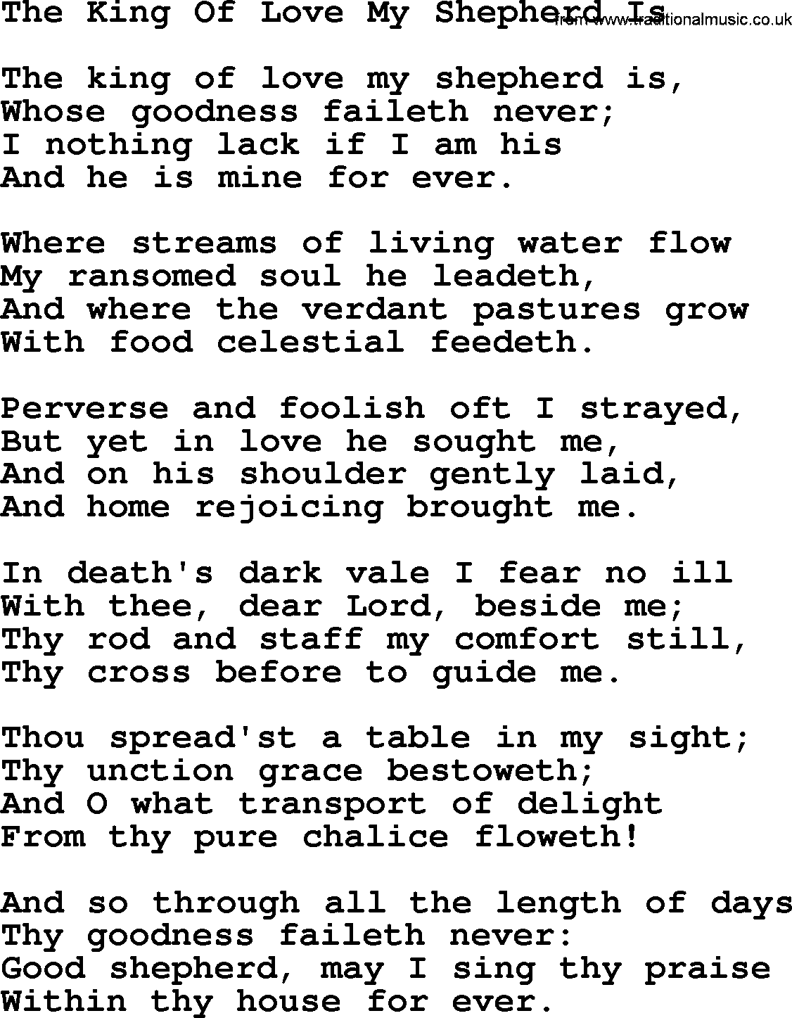 Wedding Hymns And Songs The King Of Love My Shepherd Is Txt Lyrics Chords And Pdf
