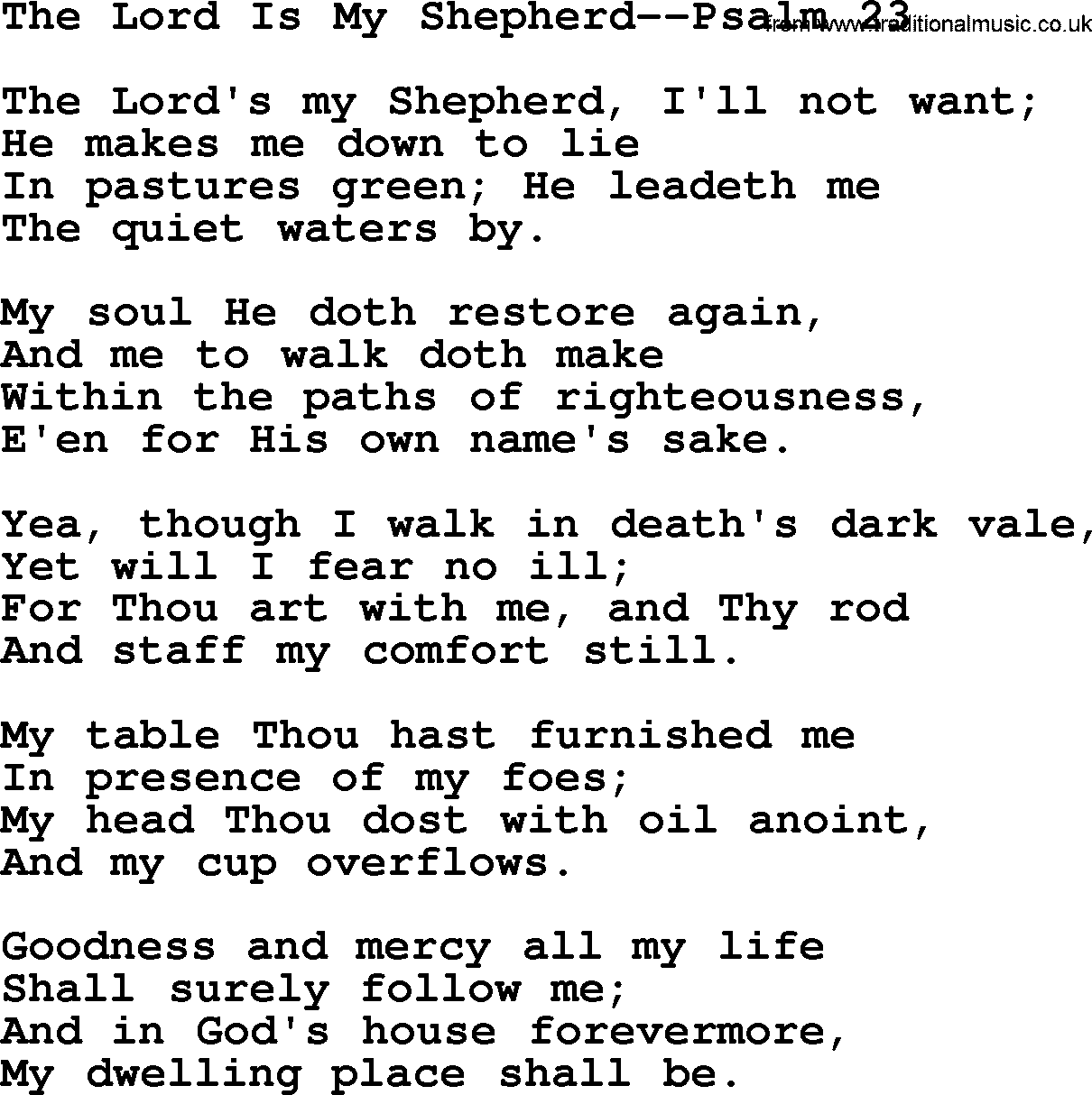 Wedding Hymns And Songs The Lord Is My Shepherd Psalm 23 Txt Lyrics Chords And Pdf