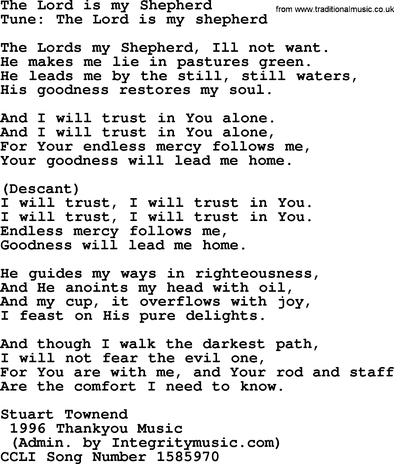Wedding Hymns And Songs The Lord Is My Shepherd Txt Lyrics Chords And Pdf