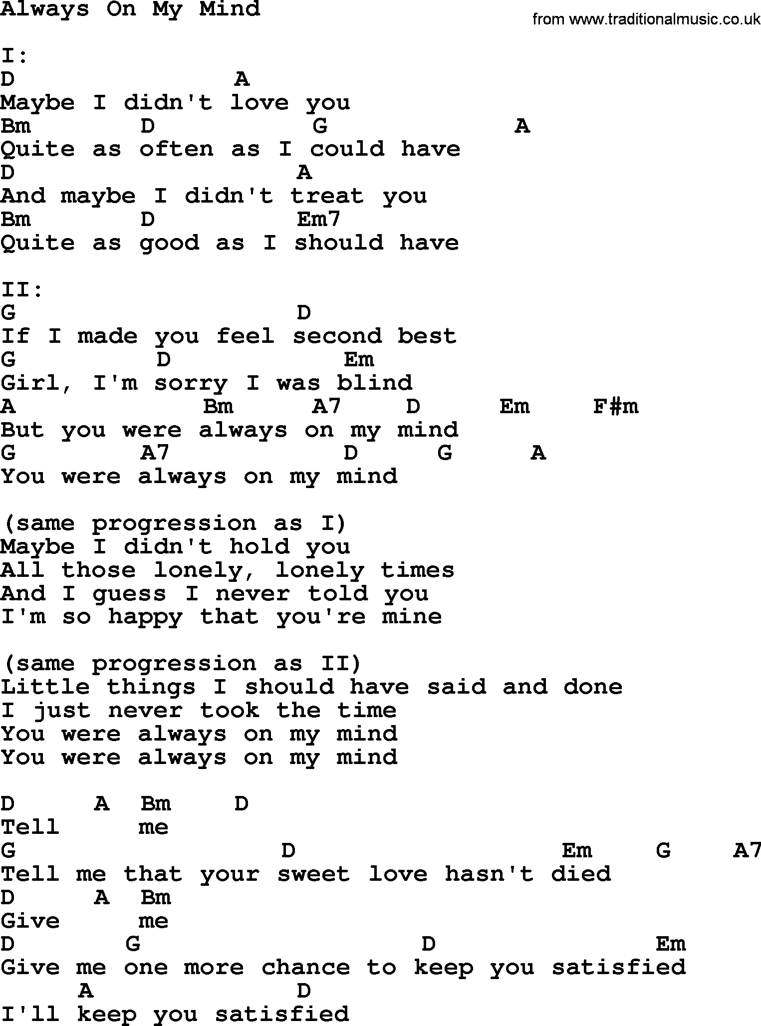 Willie Nelson Song Always On My Mind Lyrics And Chords