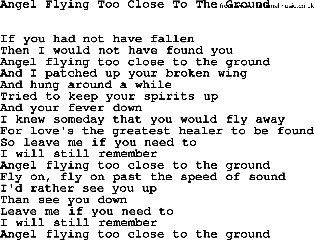 Willie Nelson - Angel Flying Too Close To The Ground Lyrics