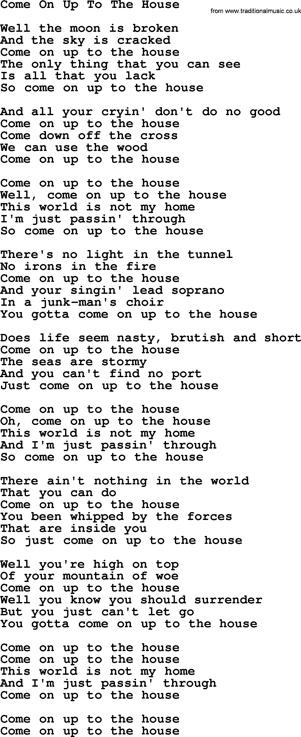 Come On Up To The House Lyrics 28 Images 17 Best Ideas