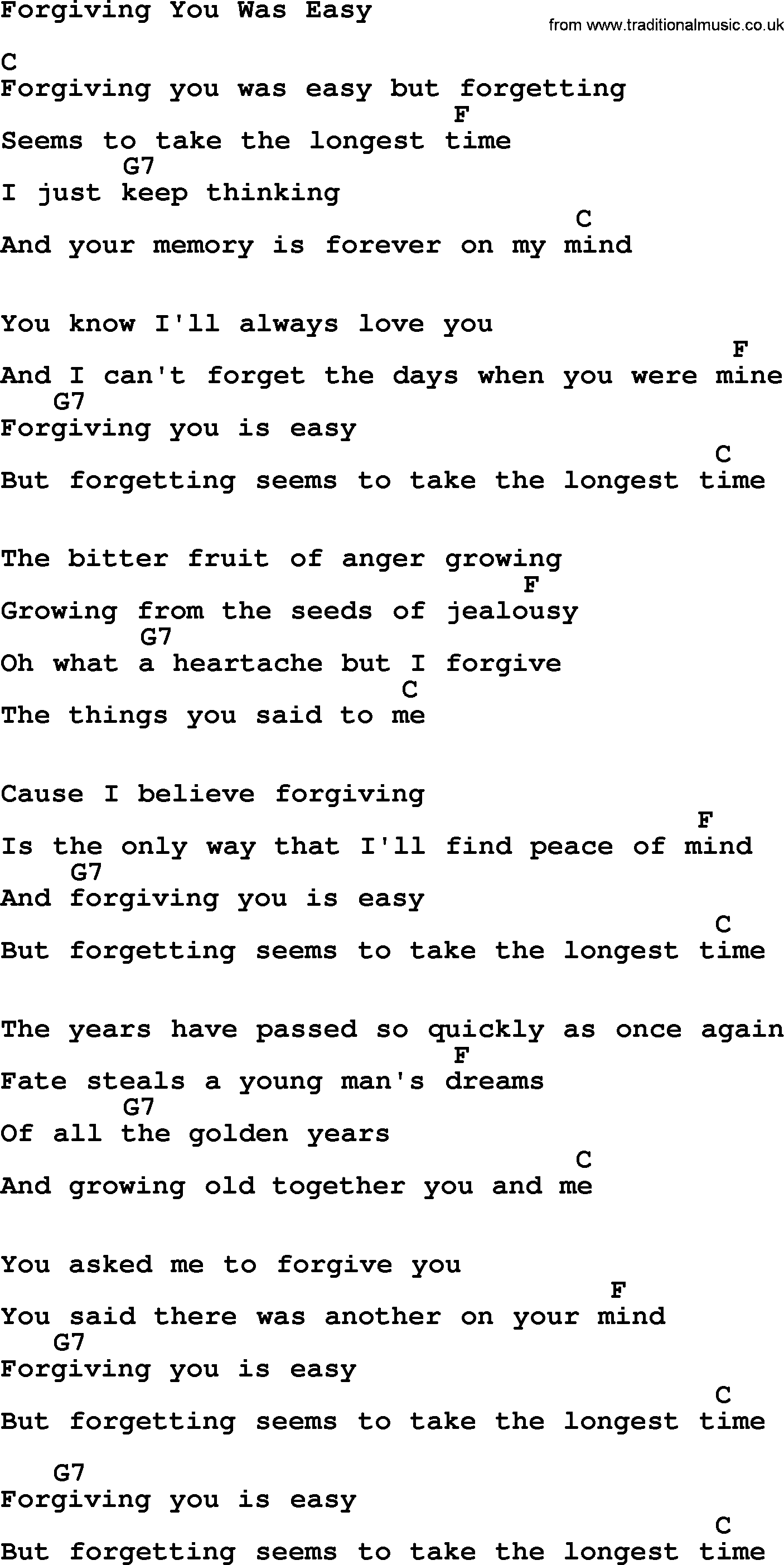 Willie Nelson Song Forgiving You Was Easy Lyrics And Chords