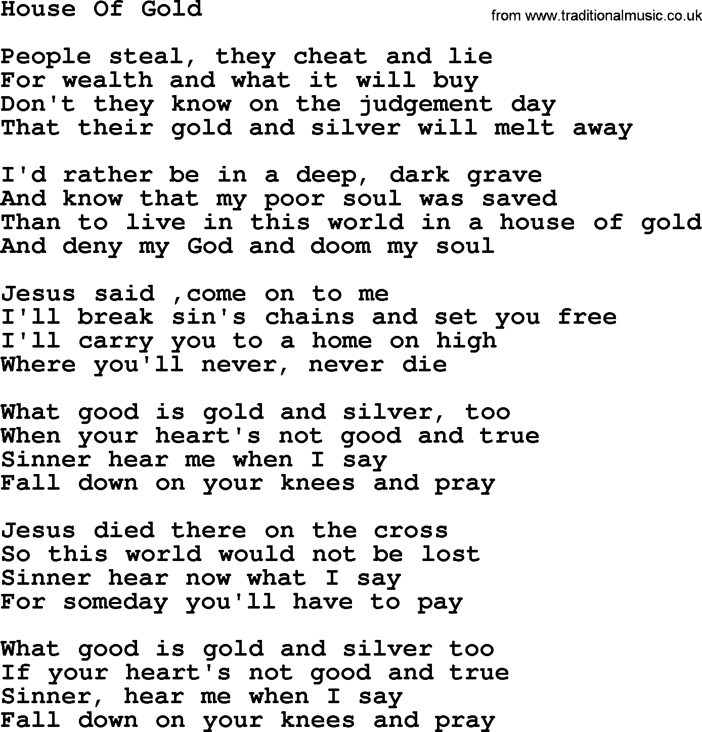 Willie Nelson song: House Of Gold, lyrics