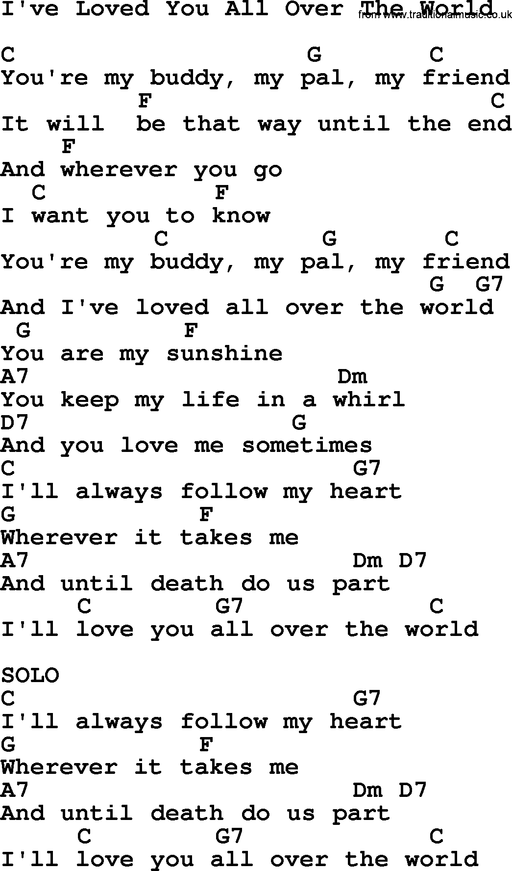 Willie Nelson Song Ive Loved You All Over The World Lyrics And Chords