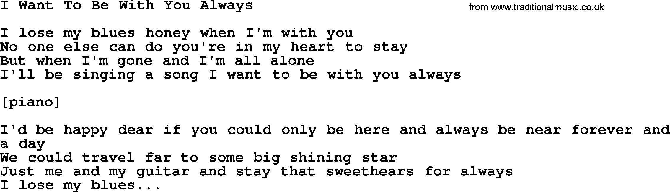 Willie Nelson song: I Want To Be With You Always, lyrics
