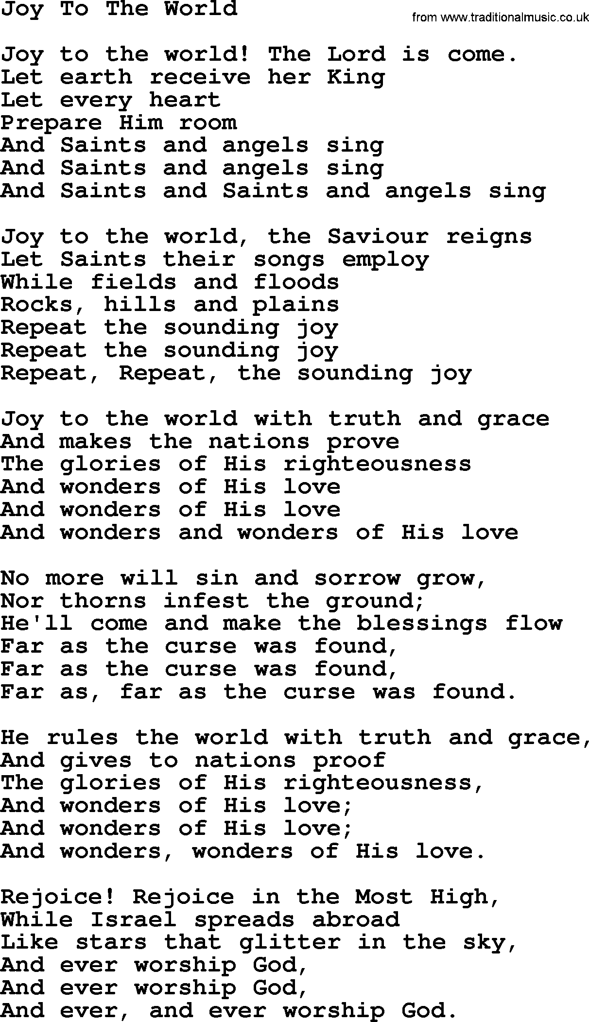 Download joy to the world as pdf file for printing etc