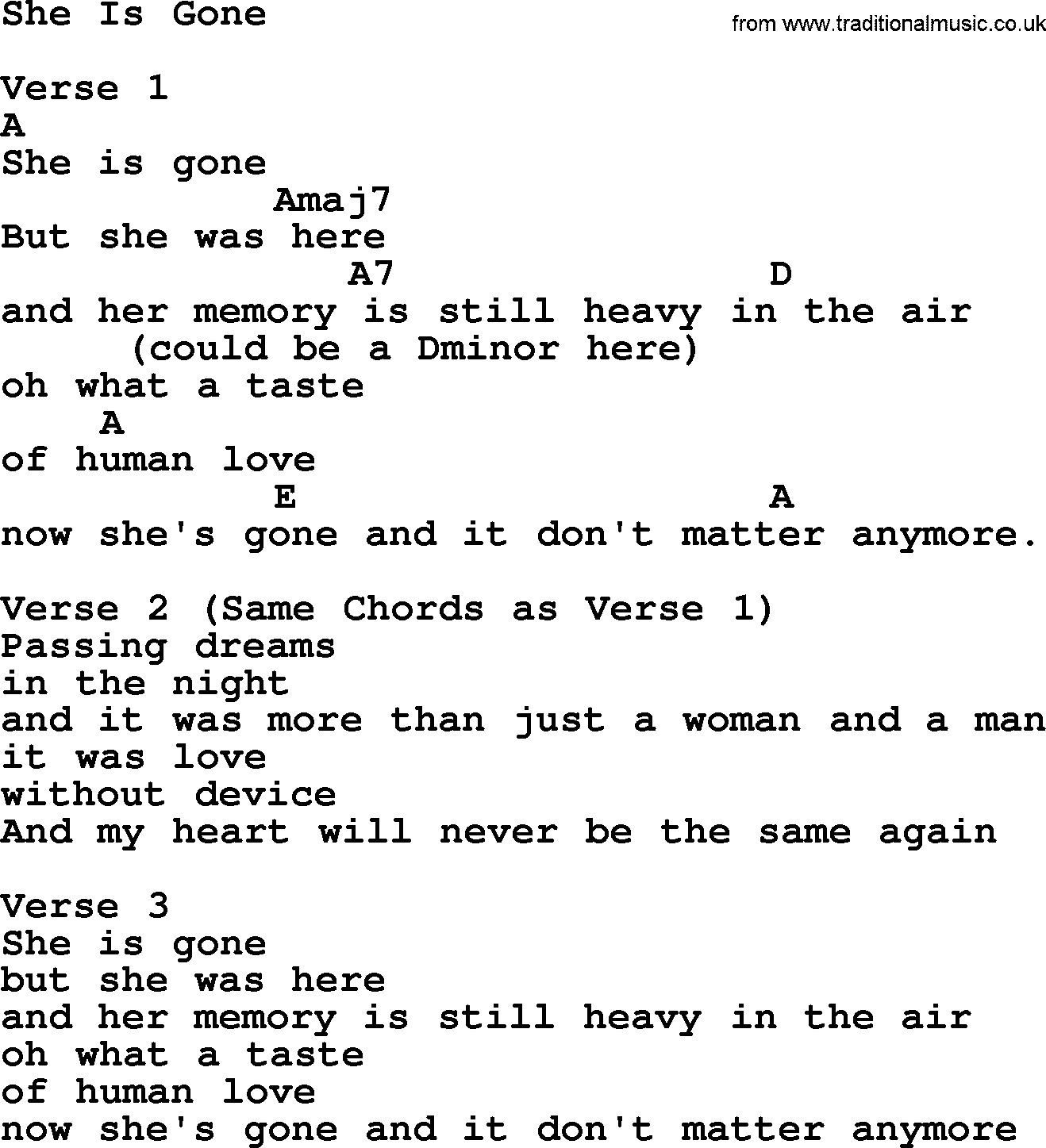 Willie Nelson song  She Is Gone  lyrics and chords. Nelson song  She Is Gone  lyrics and chords