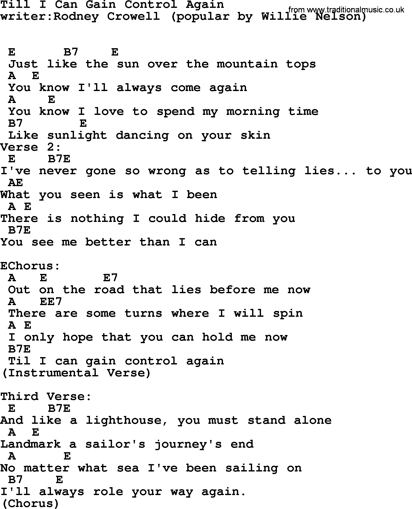 Willie Nelson Song Till I Can Gain Control Again Lyrics And Chords