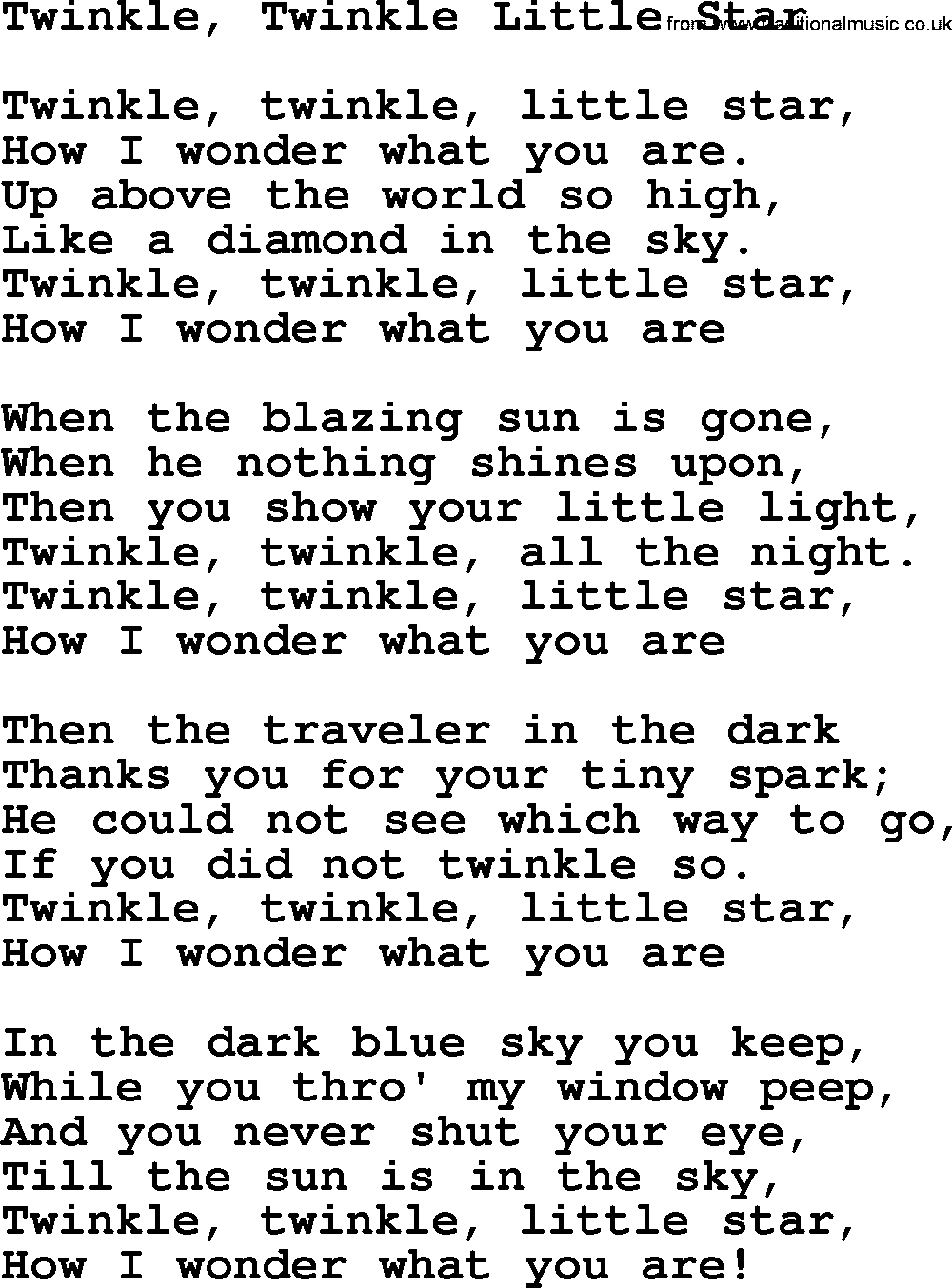 Willie Nelson song: Twinkle, Twinkle Little Star, lyrics
