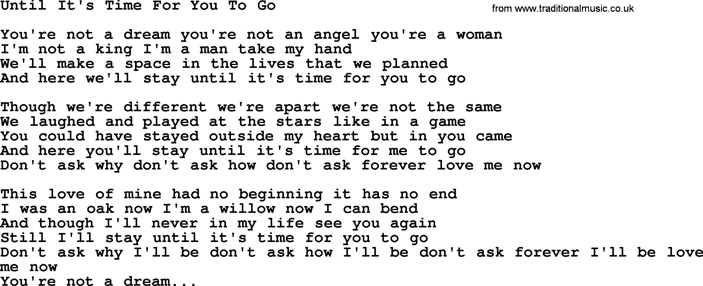 Willie Nelson song: Until It's Time For You To Go, lyrics