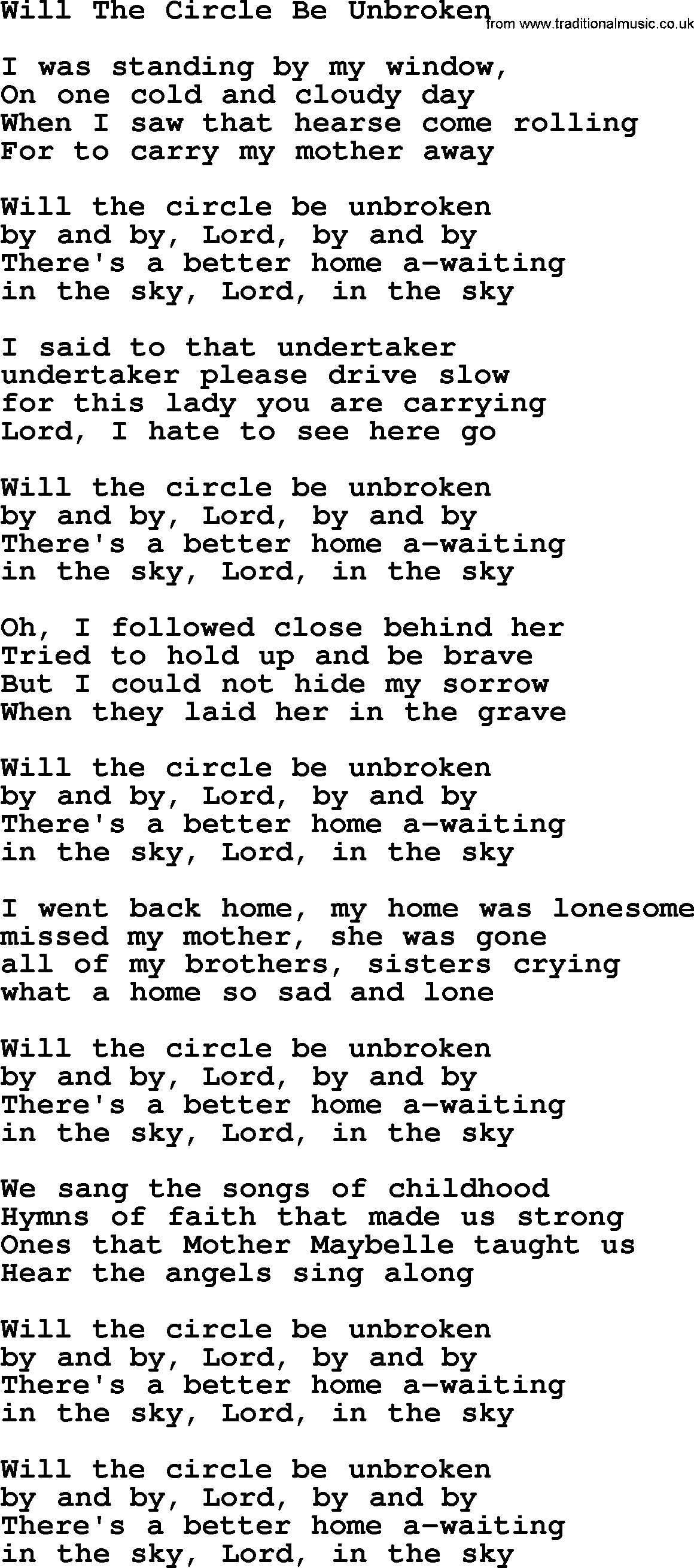 Willie Nelson song: Will The Circle Be Unbroken, lyrics