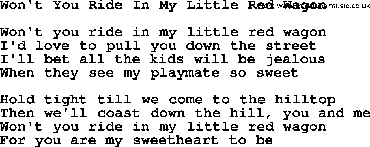 Willie Nelson Song Wont You Ride In My Little Red Wagon Lyrics