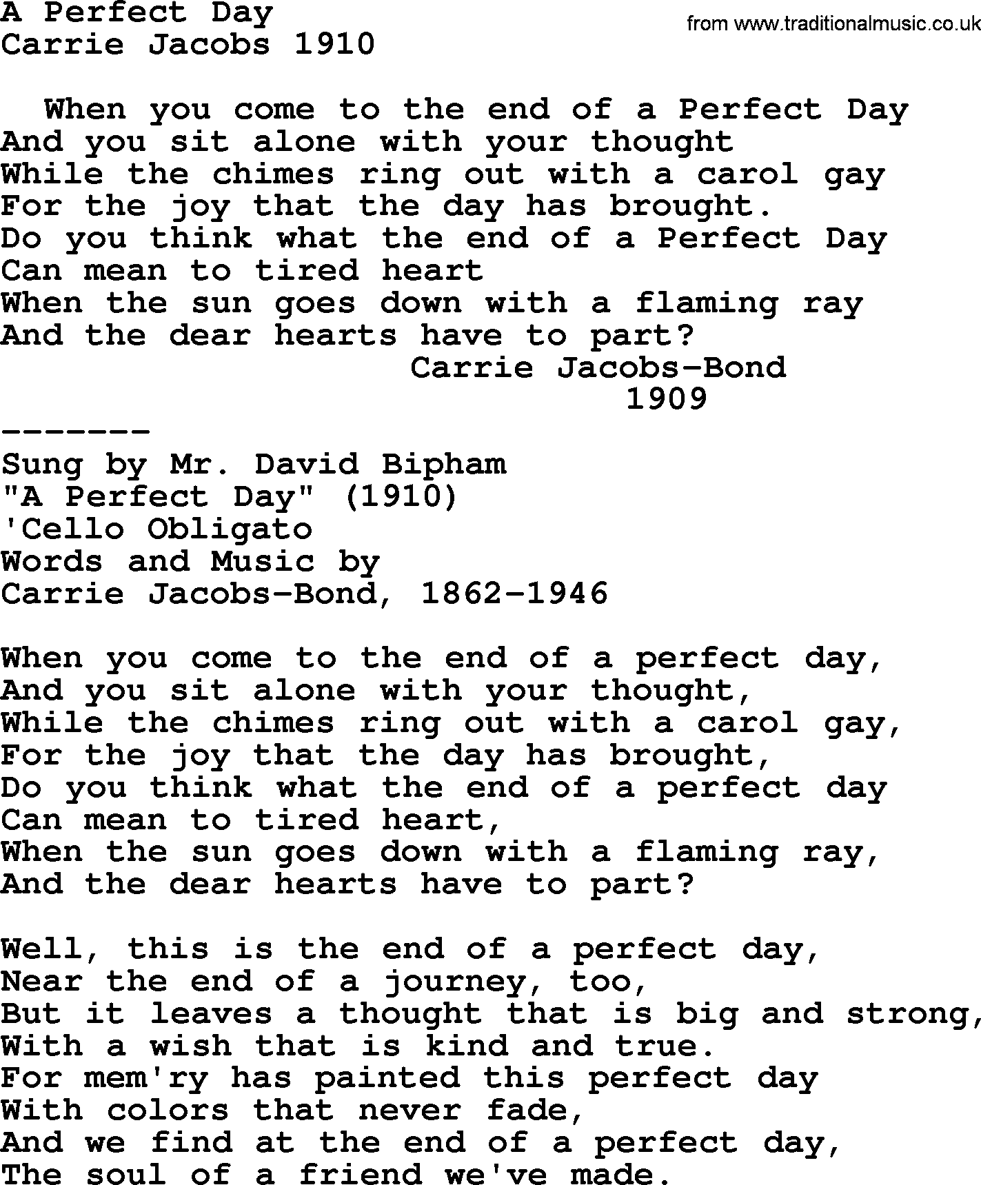 World war oneww1era song lyrics for a perfect day world warww1 one song a perfect day lyrics and pdf stopboris Image collections