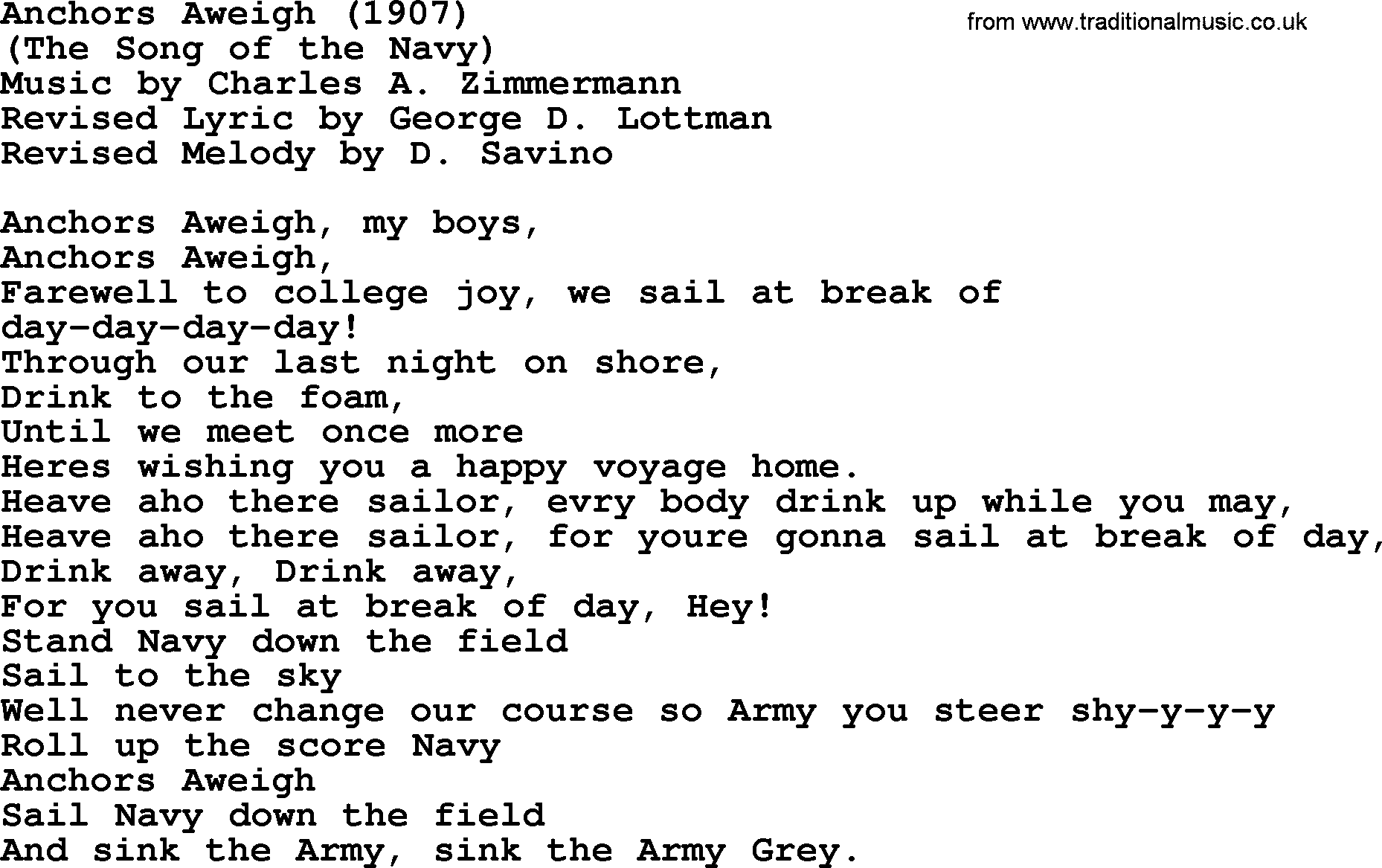 Anchors Away lyrics by Farewell - original song full text ...