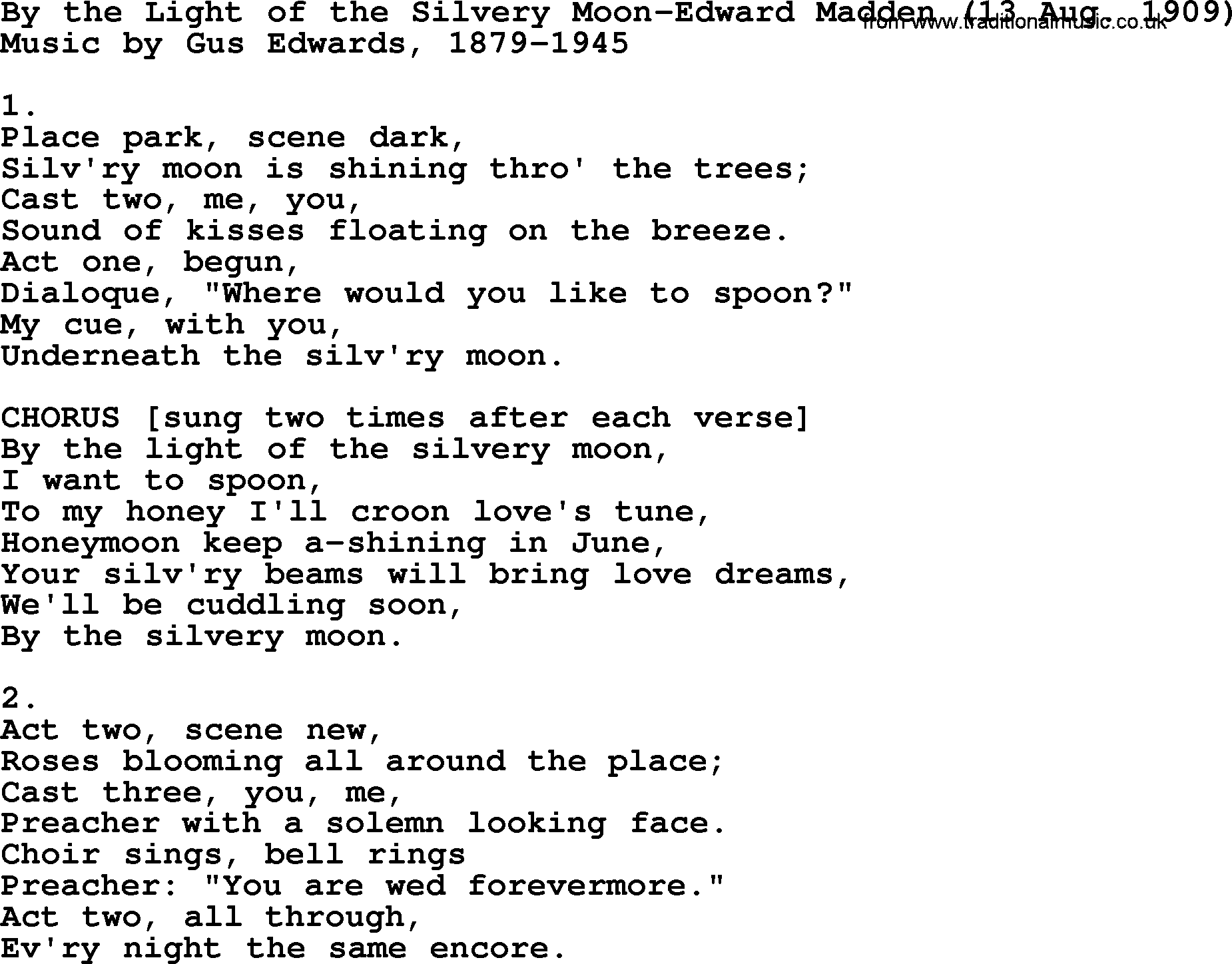 World War eWW1Era Song Lyrics for By The Light The Silvery