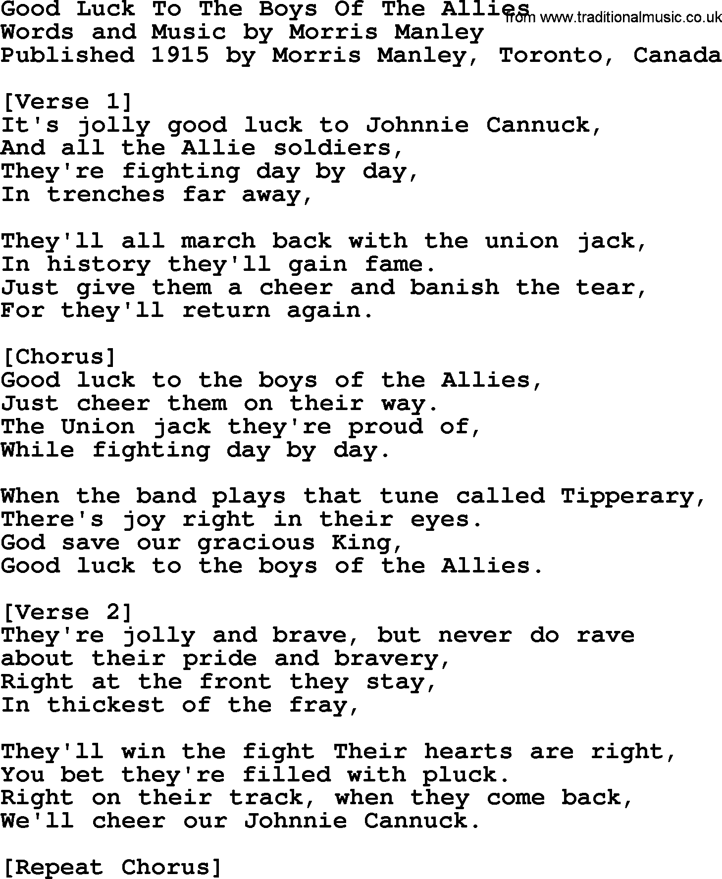 War ww1 one song good luck to the boys of the allies lyrics and pdf