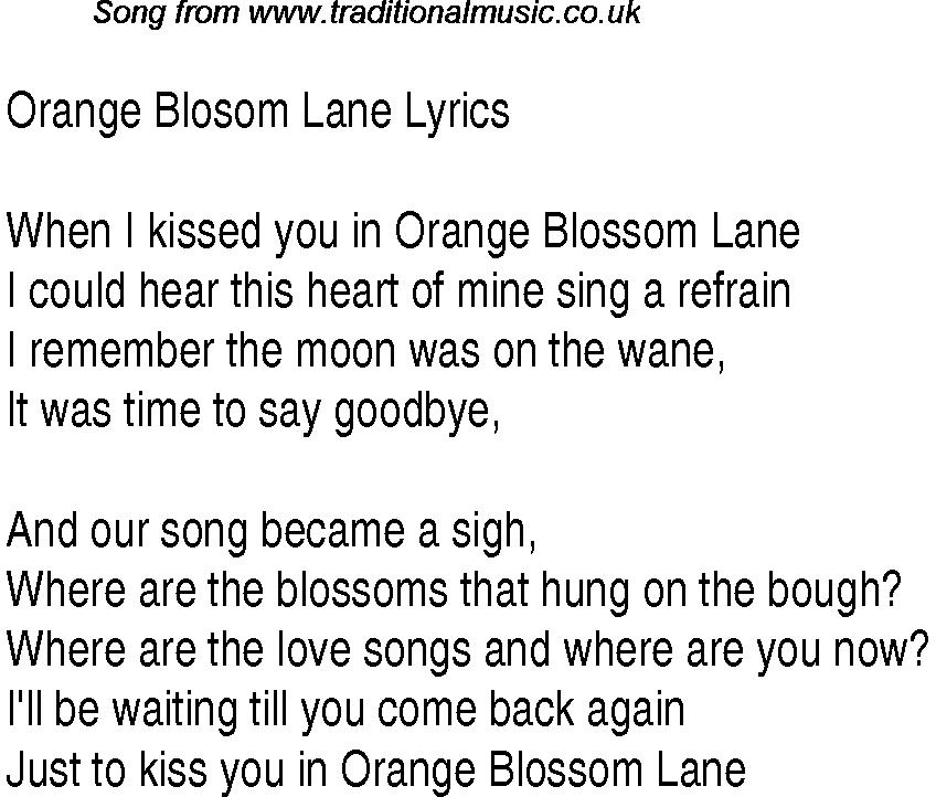 1940s Top Songs: lyrics for Orange Blosom Lane(Glen Miller)