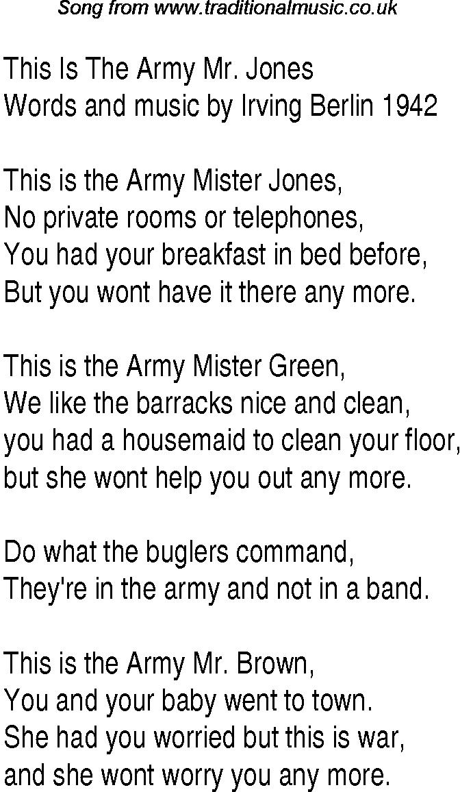 Lyric mr jones lyrics : 1940s Top Songs: lyrics for This Is The Army Mr_ Jones