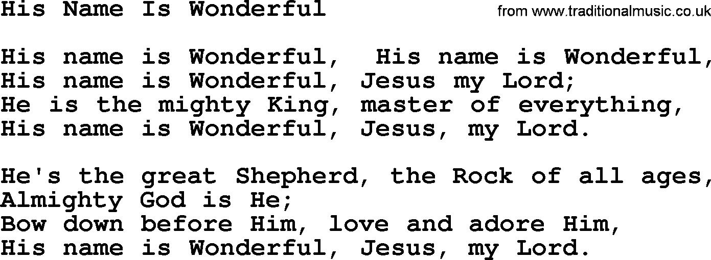 Lyric adore you lyrics : Baptist Hymnal, Christian Song: His Name Is Wonderful- lyrics with ...