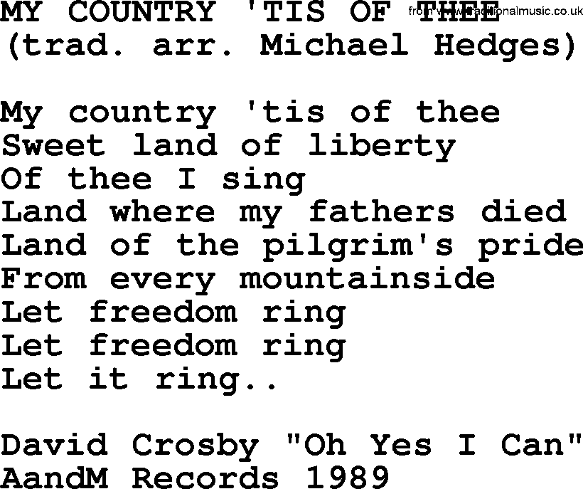 Lyric my country tis of thee lyrics : My Country 'tis Of Thee, by The Byrds - lyrics with pdf
