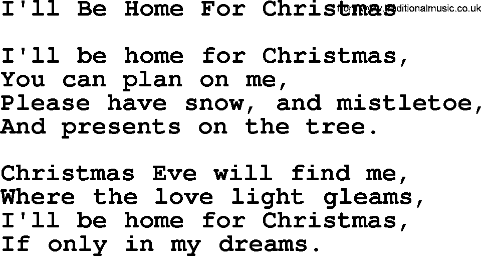 Catholic Hymns, Song: I'll Be Home For Christmas - lyrics and PDF
