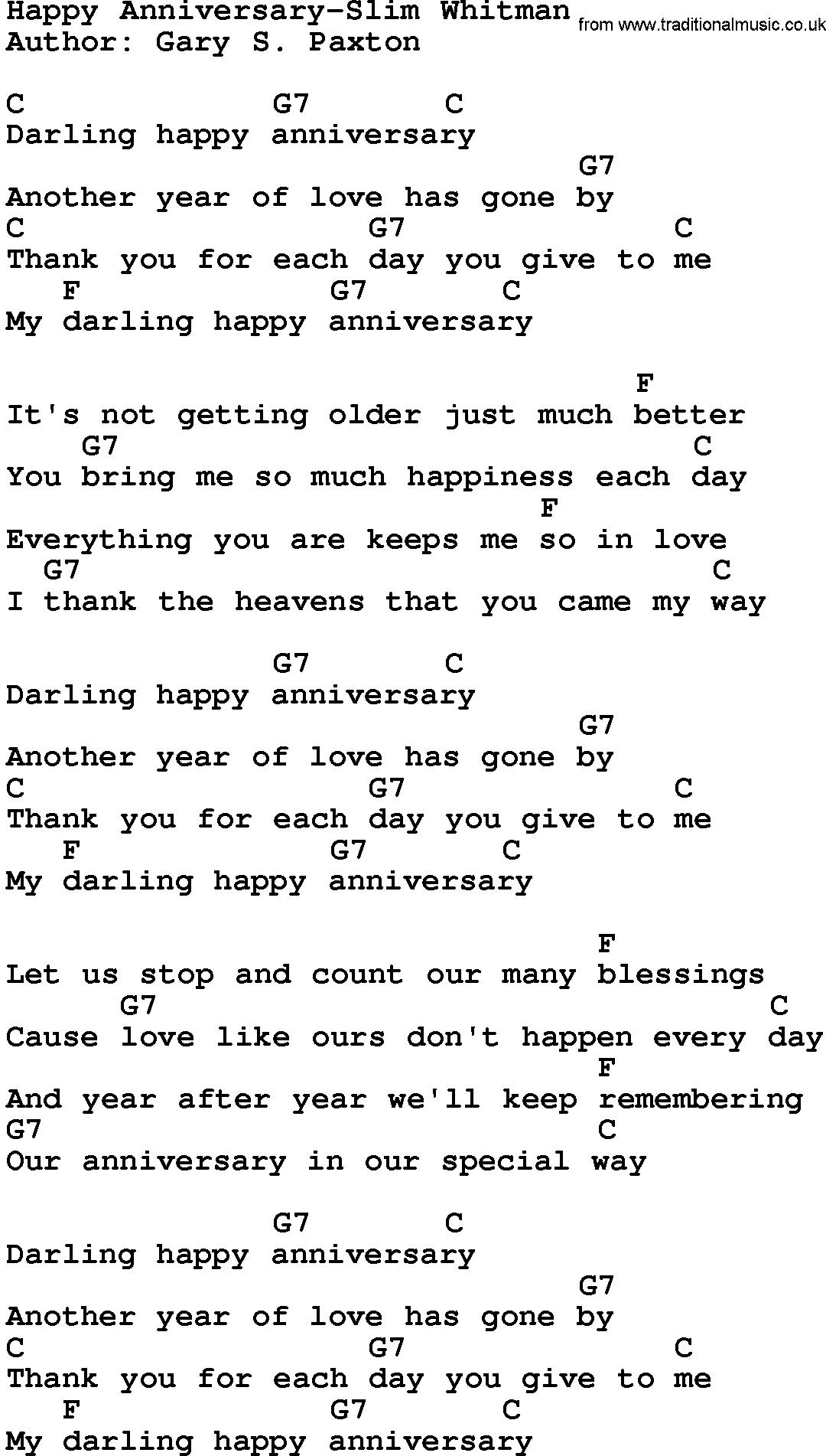 Country Music Happy Anniversary Slim Whitman Lyrics And Chords