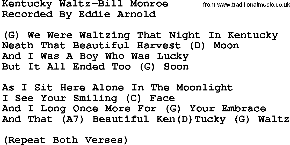 Country Music:Kentucky Waltz-Bill Monroe Lyrics and Chords