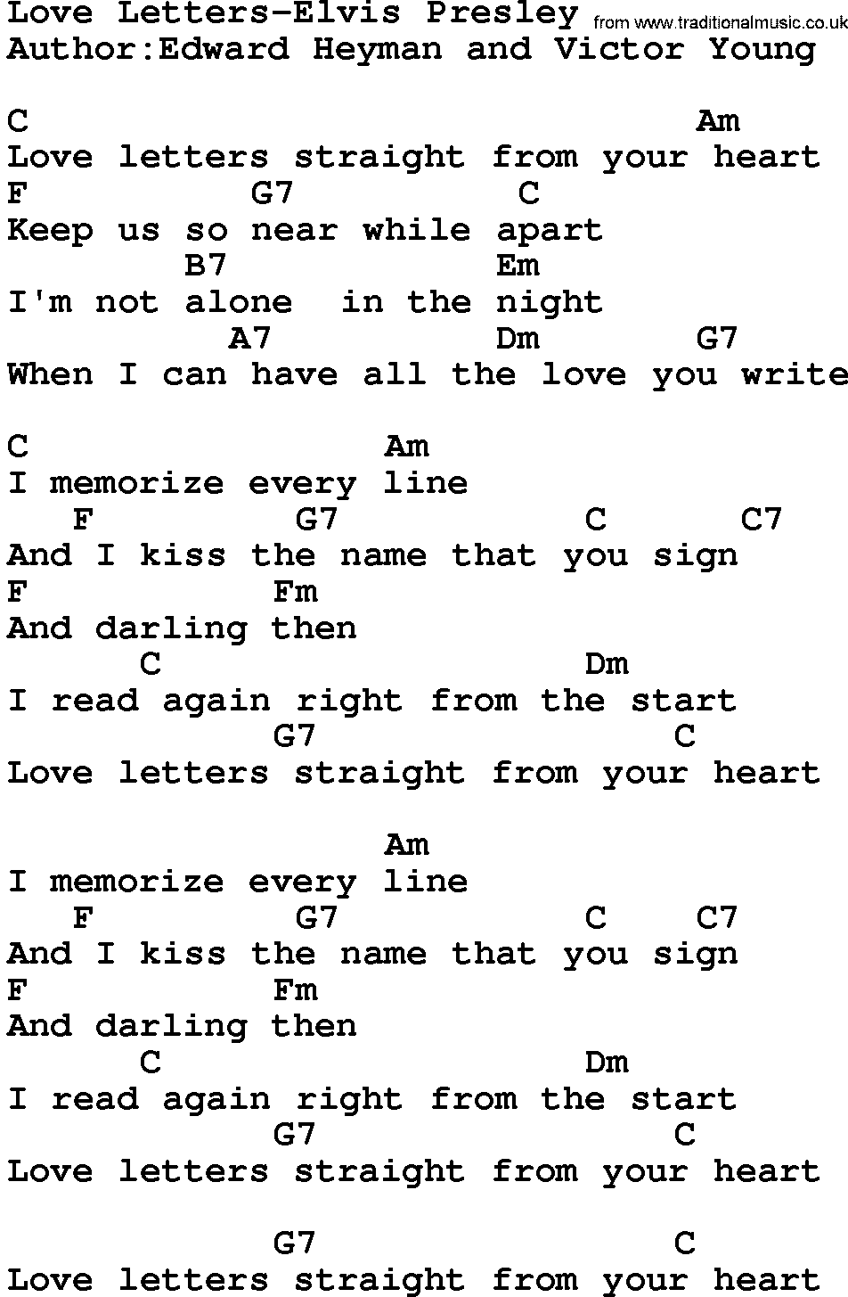 Country Music Love Letters Elvis Presley Lyrics and Chords