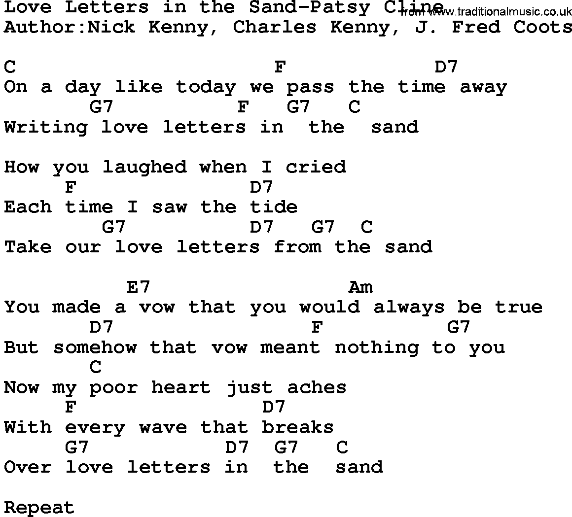 love letter song letters lyrics levelings 10011 | love letters in the sand patsy cline