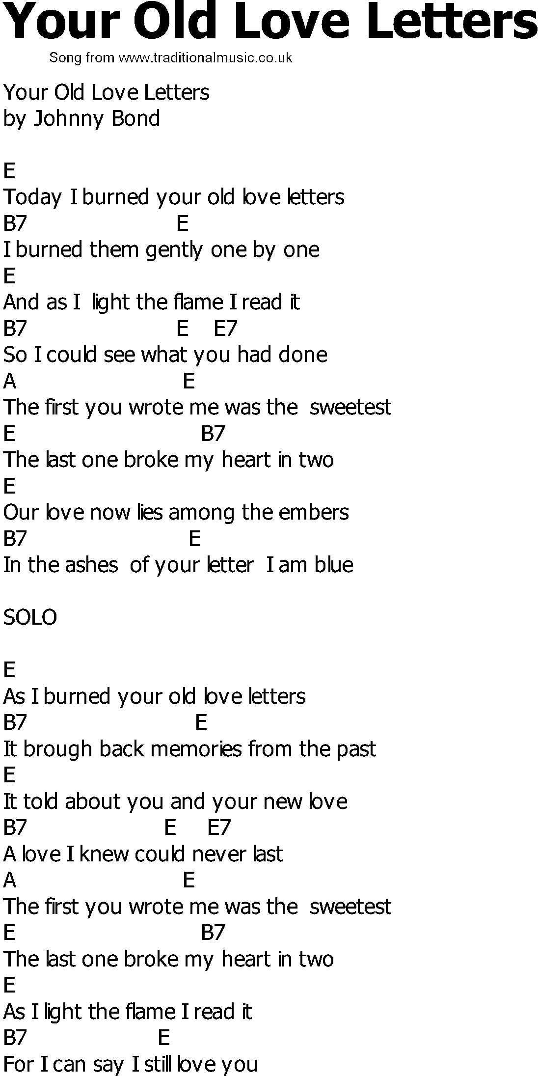 love letter song country song lyrics with chords your letters 10011 | your old love letters