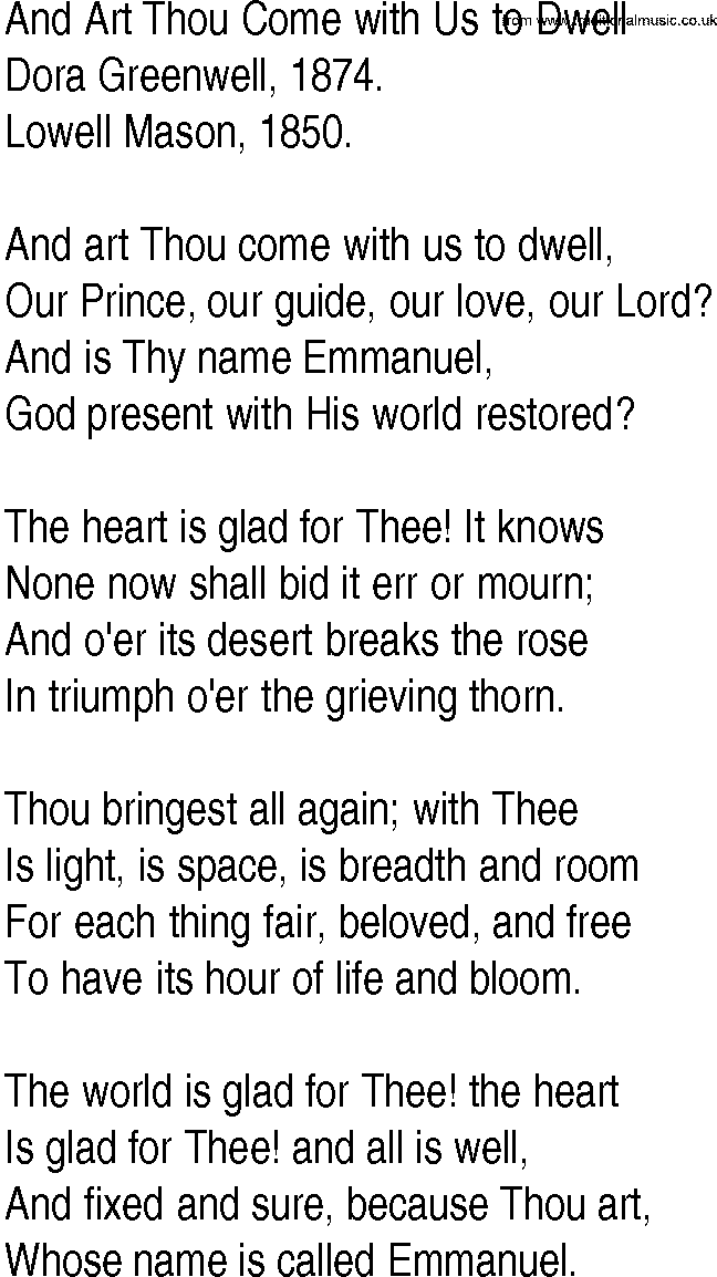 Lyric emmanuel lyrics : Hymn and Gospel Song Lyrics for And Art Thou Come with Us to Dwell ...