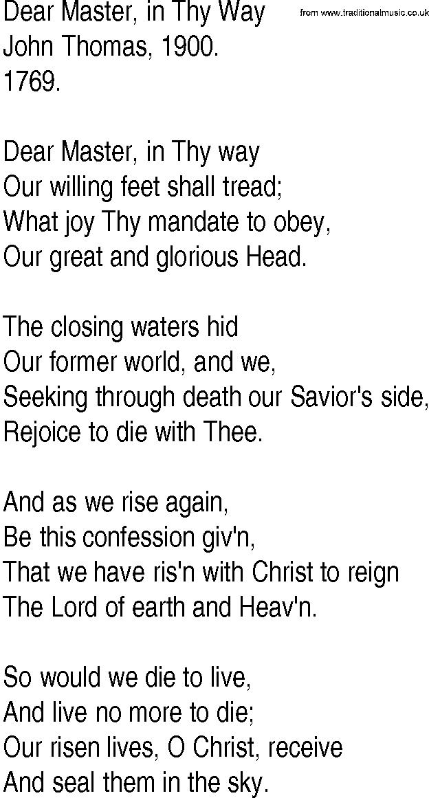 Lyric risen lyrics : Hymn and Gospel Song Lyrics for Dear Master, in Thy Way by John Thomas