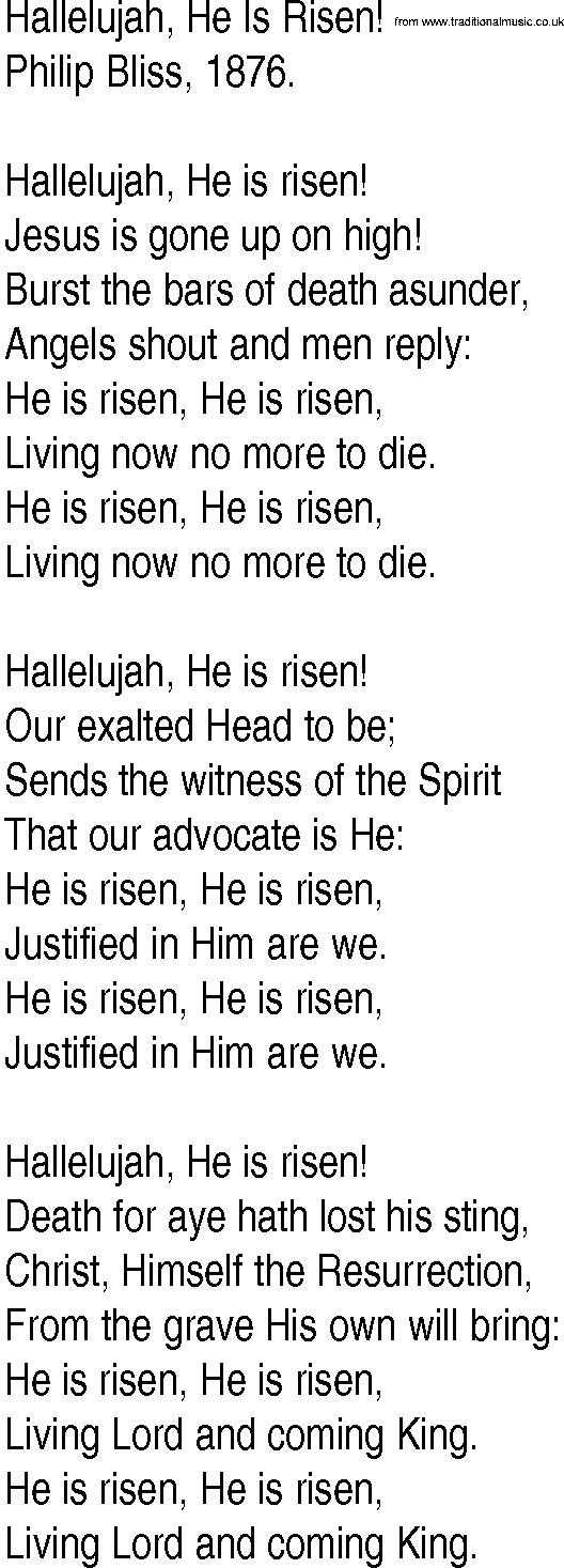 Lyric risen lyrics : Hymn and Gospel Song Lyrics for Hallelujah, He Is Risen! by Philip ...