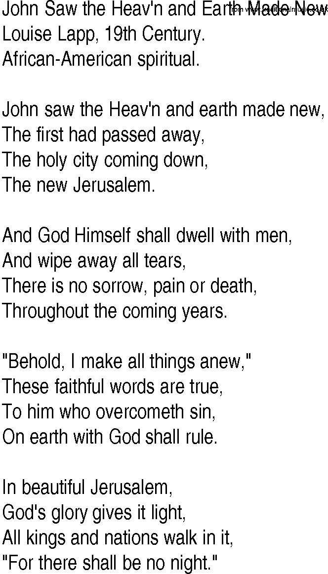 Lyric new song lyrics : Hymn and Gospel Song Lyrics for John Saw the Heav'n and Earth Made ...