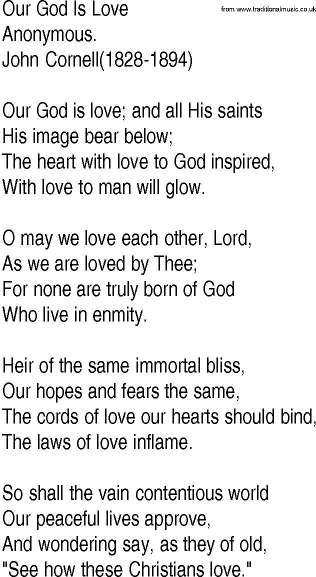 Lyric lyrics to same god : Hymn and Gospel Song Lyrics for Our God Is Love by Anonymous