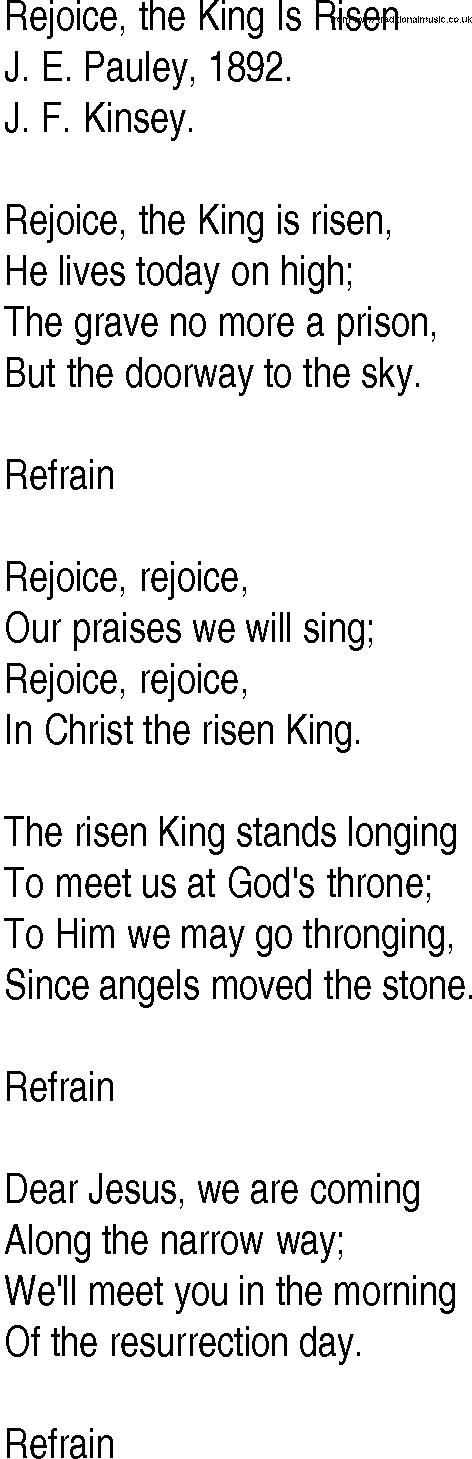 Lyric risen lyrics : Hymn and Gospel Song Lyrics for Rejoice, the King Is Risen by J E ...