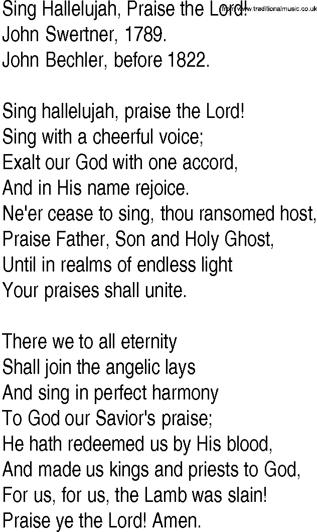 Hymn and Gospel Song Lyrics for Sing Hallelujah, Praise the Lord ...