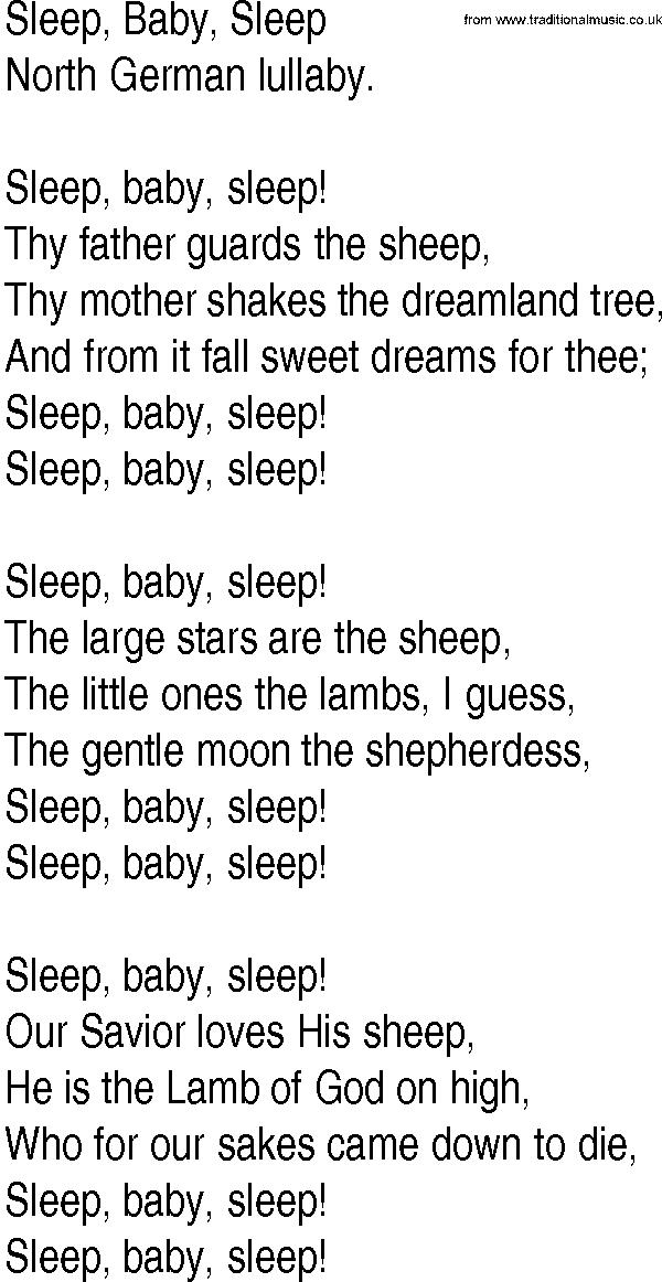 Hymn and Gospel Song Lyrics for Sleep, Baby, Sleep by North German ...