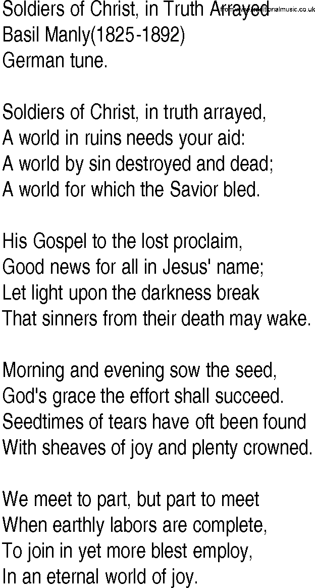 Hymn and Gospel Song Lyrics for Soldiers of Christ, in Truth ...