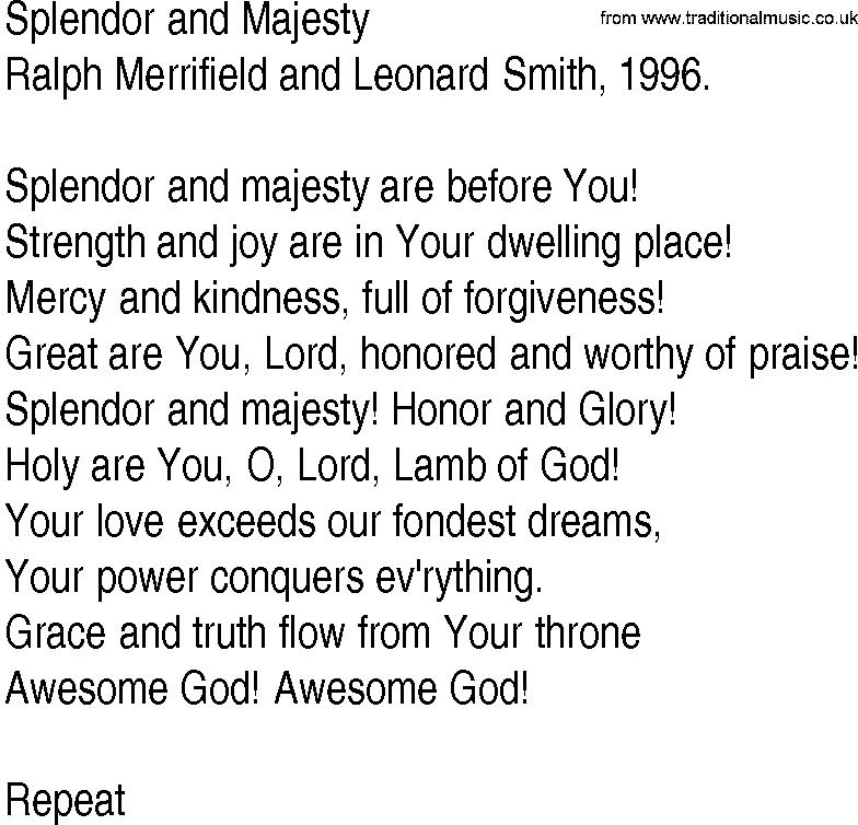 Lyric lyrics to majesty : Hymn and Gospel Song Lyrics for Splendor and Majesty by Ralph ...