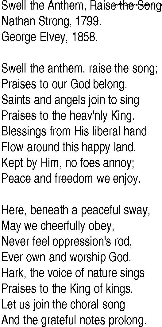 Lyric freedom lyrics gospel : Hymn and Gospel Song Lyrics for Swell the Anthem, Raise the Song ...