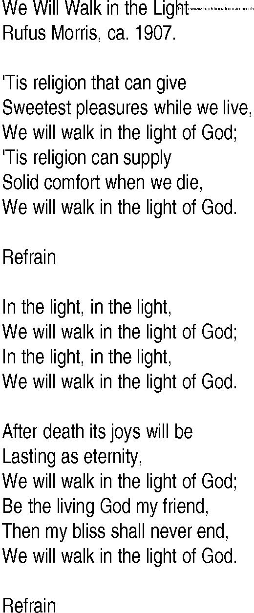 Lyric friend of god lyrics : Hymn and Gospel Song Lyrics for We Will Walk in the Light by Rufus ...