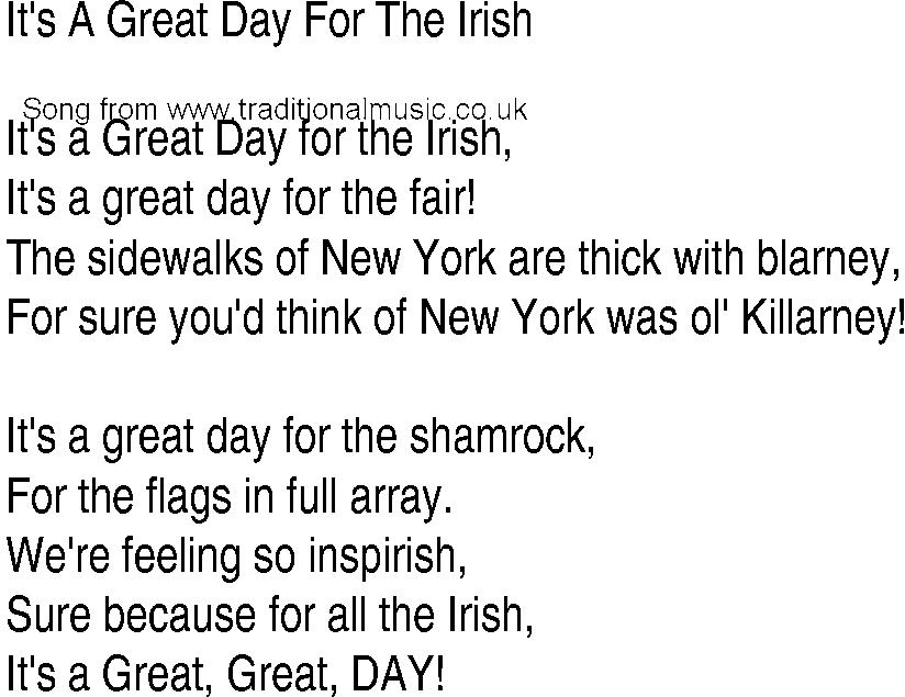 Lyric new song lyrics : Irish Music, Song and Ballad Lyrics for: Its A Great Day For The Irish