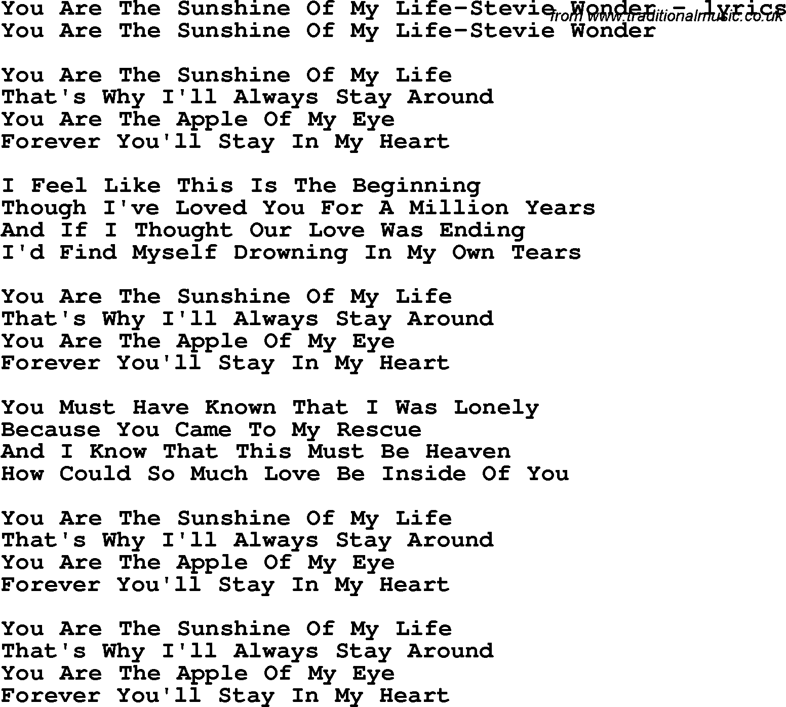 Love Song Lyrics For You Are The Sunshine Of My Life Stevie Wonder