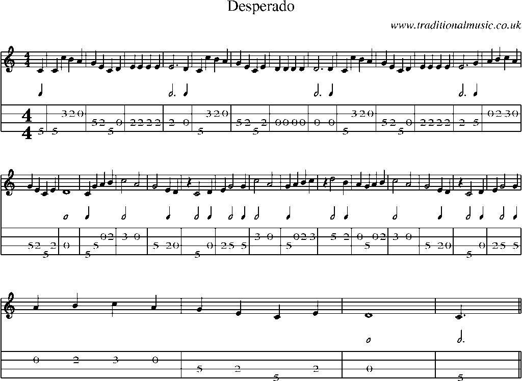 All Music Chords desperado sheet music : Mandolin Tab and Sheet Music for song:Desperado