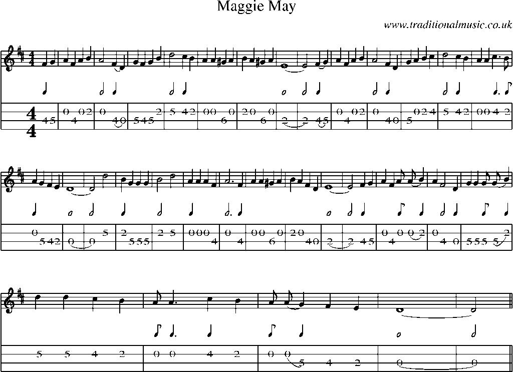 Mandolin Tab and Sheet Music for song:Maggie May
